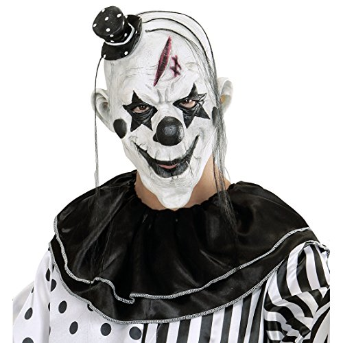 NET TOYS Killer Clown Maske Horror Clownsmaske mit Hut und Haaren Gruselige Halloweenmaske Pierrot Latexmaske Halloween Clownmaske Horrorclown Kostüm Zubehör (Psycho Clown Kostüm Kinder)