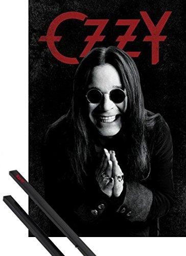 Poster + Sospensione : Ozzy Osbourne Poster Stampa (91x61 cm) Dreamer E Coppia Di Barre Porta Poster Nere 1art1®