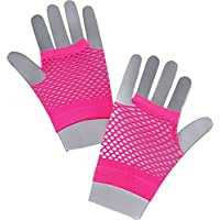 Childrens Kids Short Fishnet Gloves 1980s Fancy Dress Dance 4-12 Years (Neon Pink)