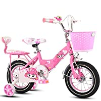 BABYCBICK Kid bicycle Bike Boys Girls Kids Children Bicycle Safe Comfortable Balance Tricycle Basket Baby 2-10 Years Old Baby Carriage Weight (color : Pink, Size : 12 inches)