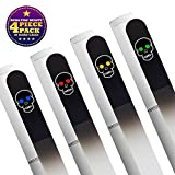 4 : Bona Fide Beauty 4-Piece Skull Manicure Set - Genuine Czech Crystal Glass Nail Files with Swarovski Crystals & Silver Hard Cases - File Nails Gent