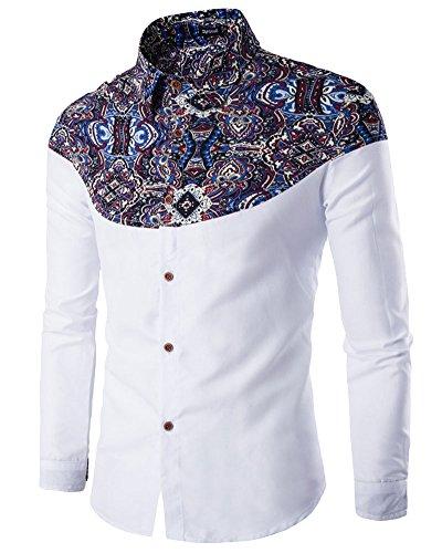 Hemd Herren Slim Fit Langarm mit Blumendruck Freizeit Business Shirt Weiß