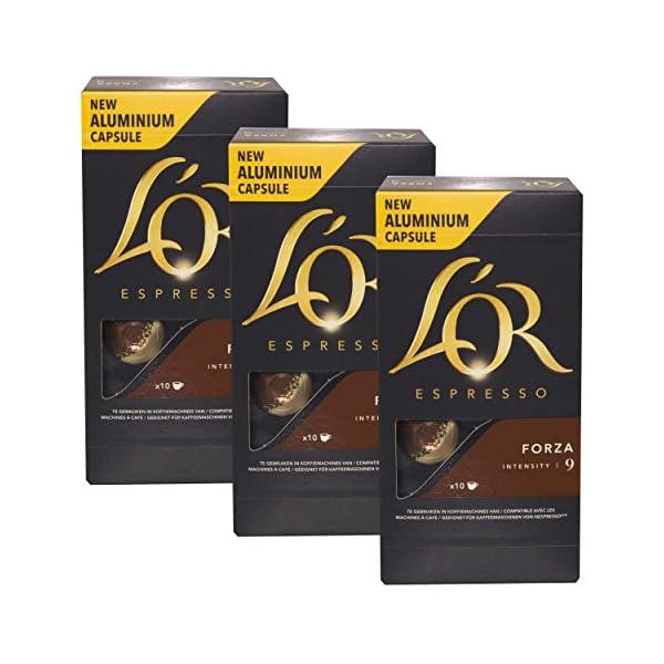 51A-mJPCfOL._SS600_ L'OR Douwe Egberts Espresso Bruin Forza, caffè capsule, Nespresso connettore, gemahlener caffè tostato, 30Capsule di Caffè