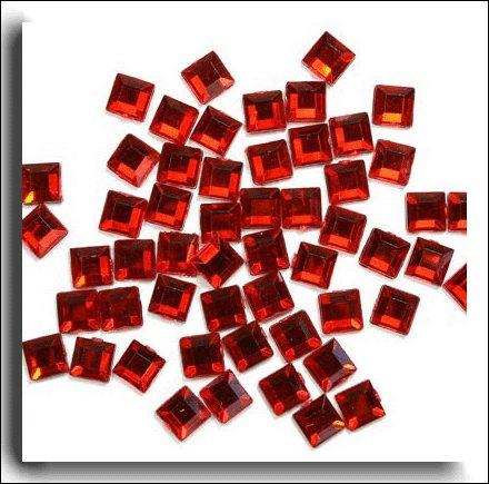 Cristal Rouge Carré Déco Décoration de Table de mariage (acrylique) x 400