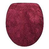 Fashionpillow Toilettendeckelbezug/WC-Stoffbezug - Mikrofaser-Klodeckelbezug, 15mm Flor, Gummizug, Oval ca. 47x50cm, in der Farbe Bordeaux