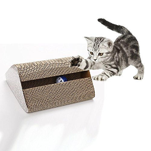 CHANG Haustier-Katze Scratch Board, Doppelseitiges Single-Slot-Dreieck-Wellpappe Cat Scratcher Pappe, Umweltfreundliche Recycelbare Cat Grinding Claw Toy,Natural,11*9.4*4.7In