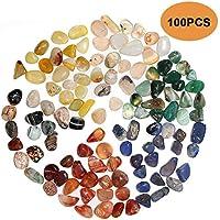 Bloomoak - 100 Piezas de Piedras de ágata Natural Pulida, Mezcla de Colores para jardín, decoración de Piedras, pasillos, macetas, jarrón, Acuario