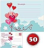 galleryy.net 50 Ballonflugkarten zur Hochzeit GELOCHT, Flugkarten für Hochzeitsballons im Set zum Hochzeitsspiel im Ballonflugkartenset - Hochzeit Herzballons