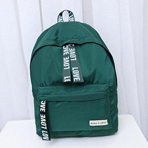 Taschen,Oyedens Unisex PU-Leder Art Und Weise Reiserucksack Schultasche Grün