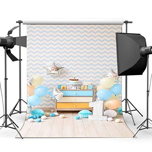 JoneAJ Kinder 1. Geburtstag Backdrop 5X7FT Vinyl Sweet Cake Smash Backdrops Papierblumen mit Luftballons auf Holzfußboden Fotografie Hintergrund Jungen Mädchen Chevron Wallpaper HL45 (Chevron Wallpapers)