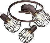 Deckenstrahler 3 Flammig Deckenleuchte Wohnzimmer Lampe Bewegliche Spots (Deckenlicht, Deckenlampe, Wohnzimmerlampe, Strahler, Flurlampe, Retro, Braun)