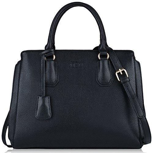 Schwarze Handtasche, Coofit Damen Handtaschen Gross Lederhandtasche Schultertaschen Henkeltaschen Umhängetaschen Tasche