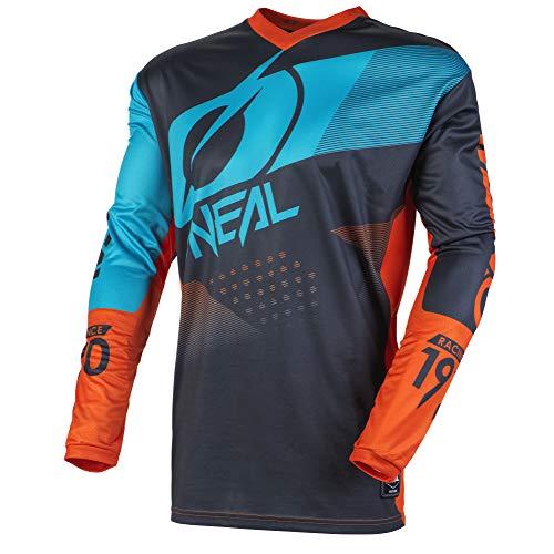 Orange Off-road-trikots (O'Neal Element Factor Jersey Moto Cross MTB MX DH Mountain Bike Trikot Langarm Shirt Leicht Offroad, E001, Farbe Grau Orange, Größe 2XL)