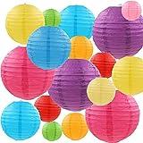 MYSWEETY Papierlaterne, 18 Stück Papier Lampions Schöne Hochzeit Deko Papierlampe rund Papier Laterne   Lampenschirm Garten Party Dekoration Ballform - Verschiedene Farben