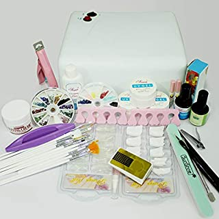 36w lamp light cure UV gel polish Nail Art Tip Dust file buffer Kits Set 221-2 W