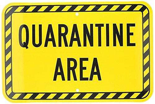 fhdnagfds Engineer Grade Reflektierende Zeichen, Legend Quarantäne Bereich, 12Breit x 18hoch, schwarz auf gelb
