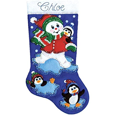Design Works Crafts – Pupazzo di neve in feltro Applique Stocking, multicolore
