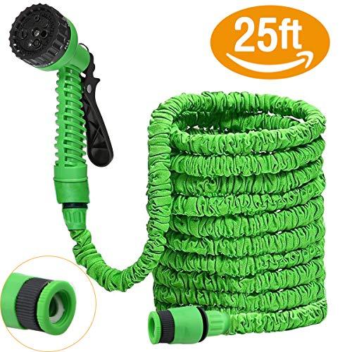 DAMIGRAM Manguera de Jardín Flexible, Manguera Jardín Manguera Flexi Wonder Flexible Manguera Expansible de Jardín Riego con 9 Configuraciones (Green 25FT)