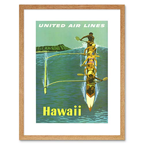 TRAVEL UNITED AIRLINE CANOE HAWAII PACIFIC VINTAGE ADVERT FRAMED PRINT B12X1749 - United Airlines Poster