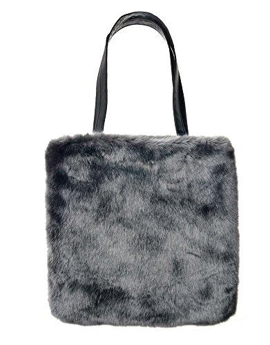 Haute For Divas Donna New Fashion Color Ecopelliccia Con Borsa A Tracolla Zipper - Beige, Grigio Scuro Grande