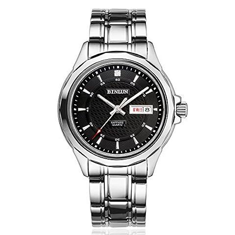binlun Herren Cool Schwarz Zifferblatt Edelstahl Stahl wasserdicht Japan Bewegung Armbanduhr mit Kalender, 41mm