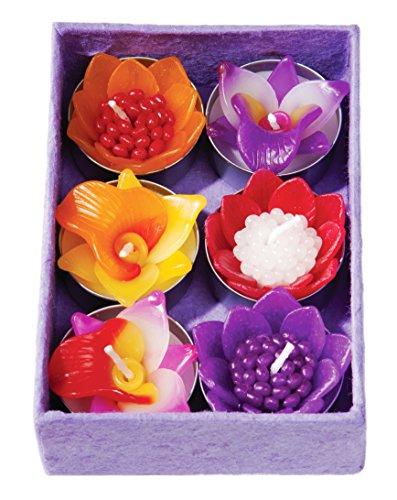 Namaste Box mit 6Handgefertigte Duft Blume Teelicht Kerzen in Verschiedenen Designs und Farben Geschenk-Set