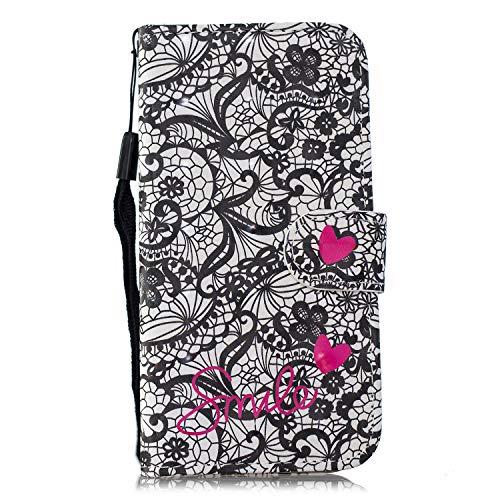 Yobby Brieftasche Hülle für Huawei P20 Lite, Handyhülle Magnetverschluss 3D Muster Slim PU Leder Flipcase Kartenfach Handschlaufe Stand Schutzhülle-Spitze Blume