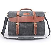 Oflamn hombre Vintage 13 – 15,6 Pulgadas Portátil Bolsa de mensajero lienzo bolso bandolera de piel auténtica maletín