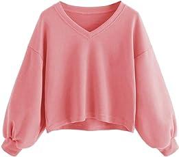 Damen Lantern Sleeve Badge Patched Rundhalsausschnitt Langarm Lose Bluse MYMYG Strickpulli Hemd Shirt Oversize Sweatshirt Tops