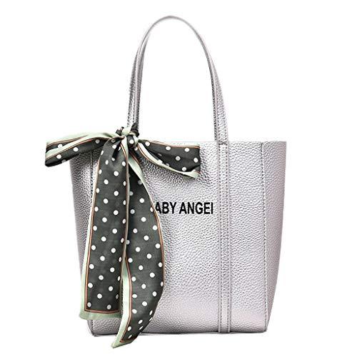 Scenxion Damen Retro-Leder-Handtaschen, Retro-Vintage-Messenger-Tasche, mit Bändern, Brief-Schultertasche, einfarbig, Handtasche mit Spitze, Silber - silber - Größe: Einheitsgröße -