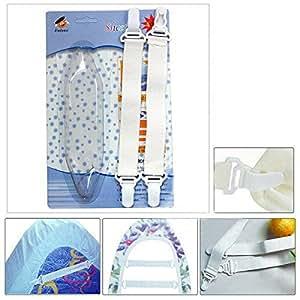 Lot de 4 Fiche Réglable Plastique Blanc Pinces Draps Clips Matelas Couverture Flexible Drap De Lit Attaché Élastique Tendeur Sheet