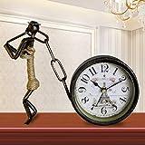 LQB Tischuhr Europäischen Antique Mute Schmiedeeisen Uhr Wohnzimmer Kreative Mode Persönlichkeit Uhr Art Deco Vintage Quarzuhr