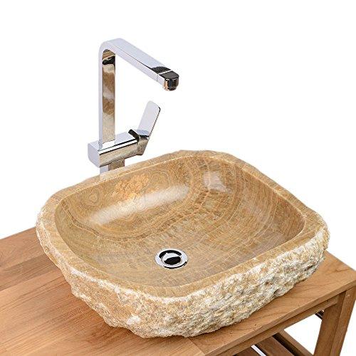 WOHNFREUDEN Marmor Onyx Waschbecken 58 x 52 x 21 cm honigbraun rund oval aussen natur Naturstein Waschtisch Waschplatz