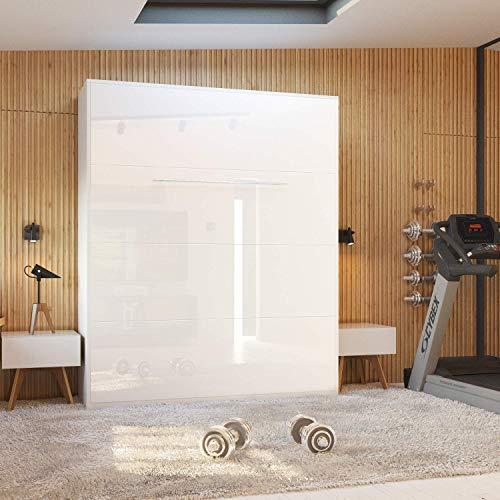 Schrankbett 160×200 cm vertikal Weiß Hochglanzfront MDF mit Gasdruckfedern, ideal als Gästebett – Wandbett, Schrank mit integriertem Klappbett, SMARTBett - 2