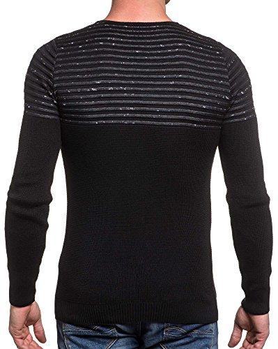 BLZ jeans - Pull homme noir fine maille col rond Noir