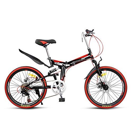 CYXYXXYX Gelb Rot Klapp Mountainbike Fahrrad Erwachsene Leichte Unisex Männer City Bike 22-Zoll-Räder Aluminiumrahmen Shopper mit verstellbarem Sitz, 7-Gang, Scheibenbremse Tragbar,Rot