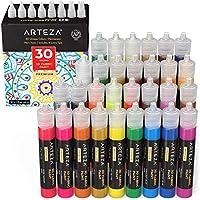ARTEZA Colori per Tessuti Permanenti 3D, Set di 30 Tubetti da 29 ml, Colori Fluorescenti, Vivaci, Metallizzati e Glitter per Tessuti, per Abbigliamento, Accessori, Ceramica e Vetro