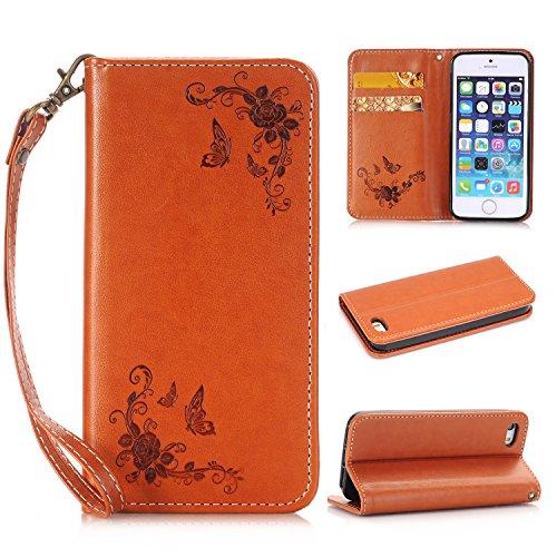 Migliore Choise Flip Case per iPhone 5& 5S & SE Rose in rilievo in pelle PU portafoglio Shell folio standabdeckung w titolare in chiusura magnetica regalo perfetto marrone