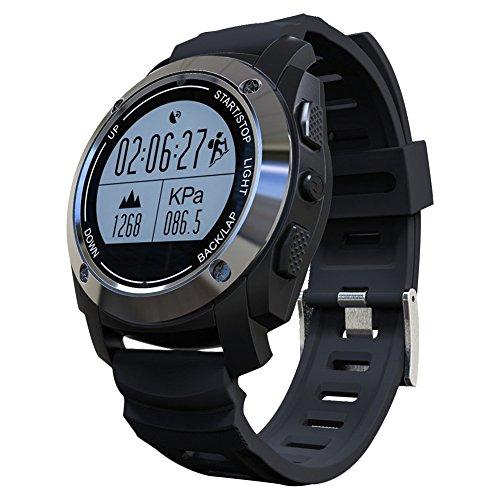Smart Watch Eingebaut GPS Mit Pulsmesser Wasserdicht Digital Sportuhr Fitness-Tracker Für Sport Im Freien,OOLIFENG,Black