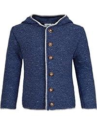 Jungen Isar-Trachten Kinder Trachten-Strick-Janker mit Kapuze jeansblau, JEANS (blau),
