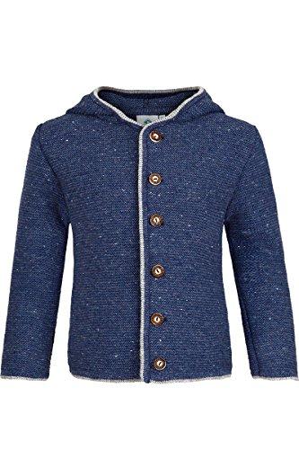 Isar-Trachten Jungen Kinder Trachten-Strick-Janker mit Kapuze Jeansblau, Jeans (blau), 104