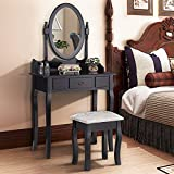 Makeonsale Black Dressing Table with Mirror & Stool | Vintage & Mordern Design