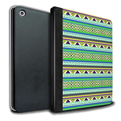 STUFF4 PU-Leder Hülle/Case/Brieftasche für Apple iPad 9.7 (2017) tablet / Grün/Lila Muster / Aztekische Stammes Muster Kollektion (Mexiko-handy-fällen)