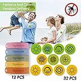 Skymore Set di Repellenti per Insetti, Repellenti di Zanzare, 12 Bracciali Antizanzare + 32 Adesivi Antizanzare, Regolabile per Bambini e Adulti Bracciale repellente per zanzare