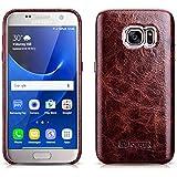 Luxus Back-Cover für Samsung Galaxy S7 (5.1 Zoll) / SM-G930 / Case Außenseite aus Echt-Leder / Schutz-Hülle mit Innenseite aus Textil / ultra-slim Etui / Tasche im Vintage Look / Farbe: Dunkel-Braun