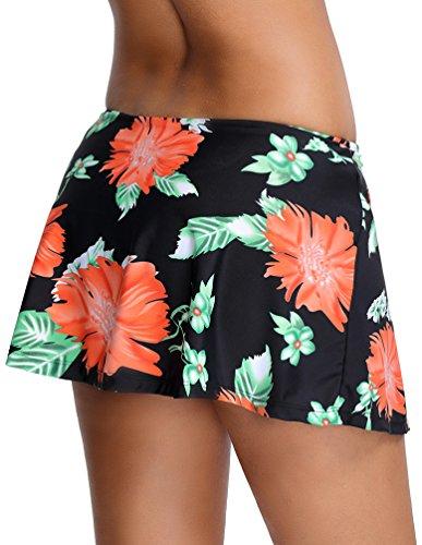OLIPHEE Damen Baderock mit integrierter innenslip Bikinirock Schwimmen Strandrock Volant Design Schwarz Blume
