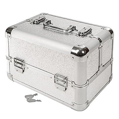TecTake Mallette coffrets boîte à maquillage bijoux et cosmétique beauty case ARGENT