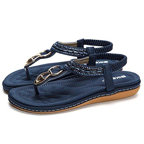 Socofy Sandales Femme, Tong Entredoights en Cuir Talon Plates Compensées Enfiler Chaussures de Ville Été Soldes - Bleu - Taille 36 EU