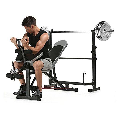 Simlive Olympic - Panca per pesi regolabile multifunzione, con Preacher Curl e potenziamento gambe,...