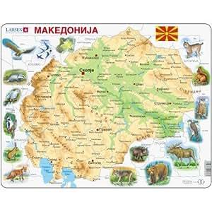 Puzzle 61 pièces - Puzzle Cadre - Carte de la Macédoine